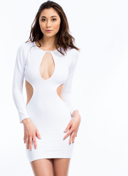white dress cut out dresses