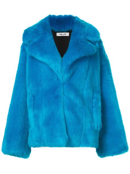 Dvf Diane Von Furstenberg jacket fur faux fur women blue