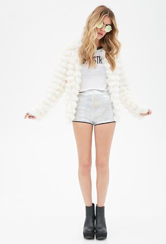 jacket clothes sunglasses shoes shorts fluffy white faux fur faux fur jacket cozy