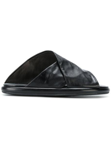 cross women sandals leather black shoes