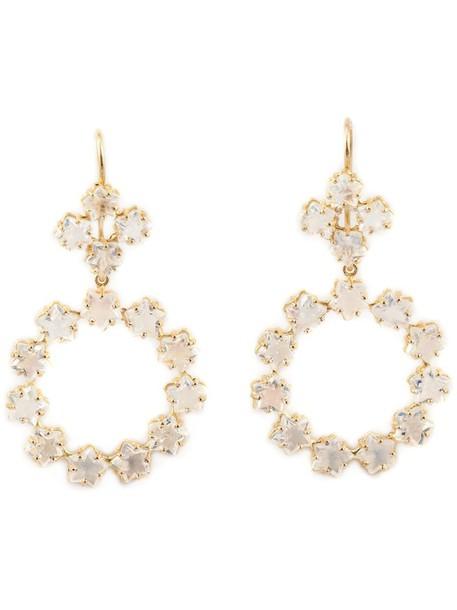 Marie Helene De Taillac rainbow women earrings gold white jewels