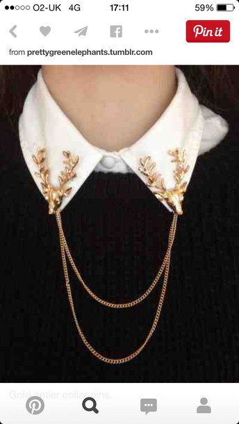 jewels gold necklace collar stag antlers