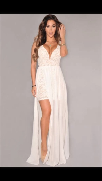 dress maxi dress white dress white maxi dress lace up sexy dress wedding dress lace wedding dress