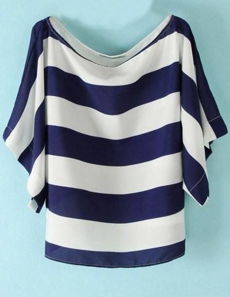 Shirt striped shirt women style women fashion new for Blue white striped t shirt