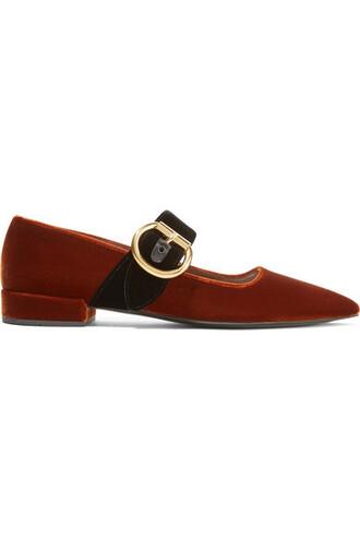 flats velvet brown shoes