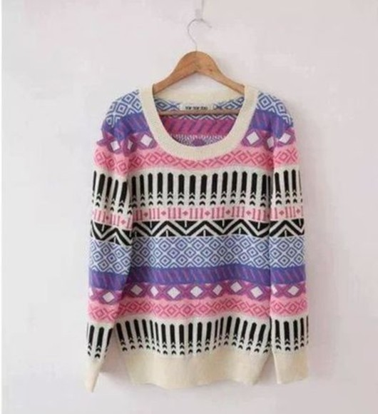 cream white sweater cute black pattern style pretty pink purple colors colorfull beautiful tumblr fashion taste lovely winter weather nice pullover violet