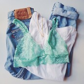 underwear,lingerie,lingerie bra,bra,bralette,lace,lace top,lace cami,tourquise,green,mint,top,jeans