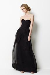 dress,sweetheart neckline,empire waist,long dress,black dress,black,strapless,prom dress,strapless dress