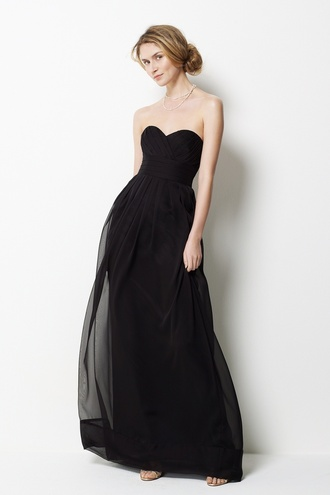 dress sweetheart neckline empire waist long dress black dress black strapless prom dress strapless dress