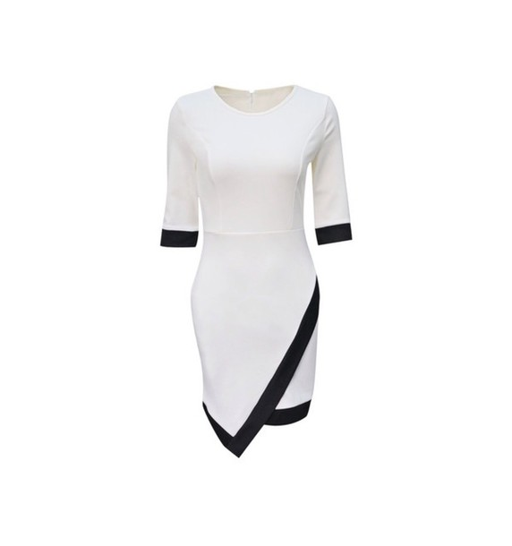 dress asymmetrical wrap style black and white