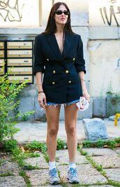 jacket,blazer,shortsd,denim,denim shorts,sunglasses,sneakers