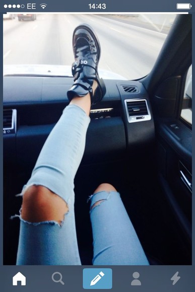 jeans blue skinny ripped shoes