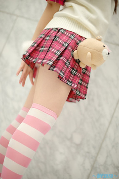 skirt pink pink skirt stripes plaid skirt striped stockings thigh highs stockings