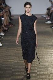 dress,sportmax,sara sampaio,milan fashion week 2016,midi dress,black dress