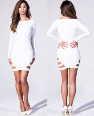 dress white dress sexy dress miami las vegas nightlife short party dresses birthday dress clubwear cut-out