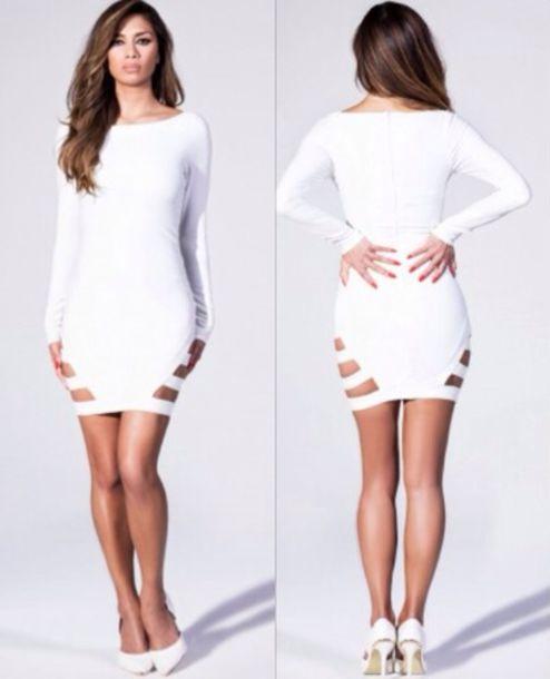 dress white dress sexy party dresses miami las vegas nightlife short party dresses birthday dress club dress clubwear cut-out