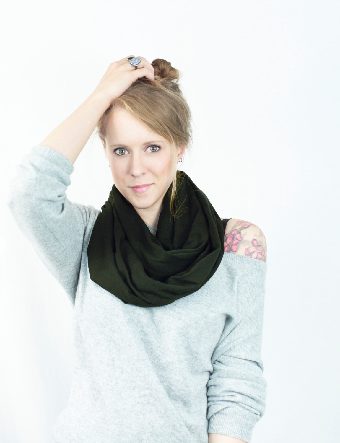 Olive green infinity scarf sale dark jersey cotton fall military drab army women accessory