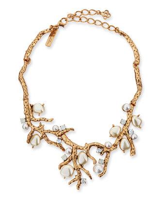 jewels yellow pearl-beaded coral necklace necklace oscar de la renta