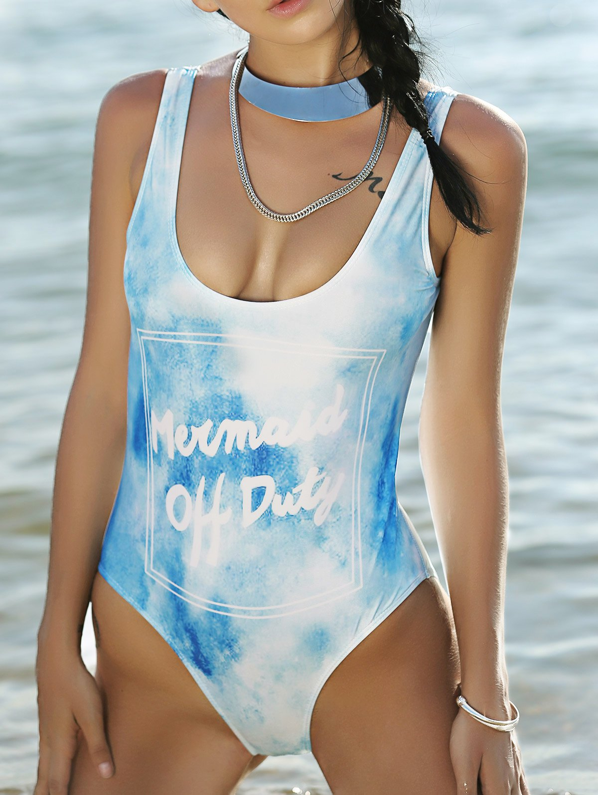 High Cut Plunging Neck Printed One-Piece Swimwear