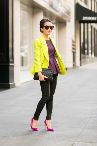 wendy's lookbook t-shirt shoes bag sunglasses jewels shirt purple shirt pink shoes pumps jeans faux leather pants black jeans coat