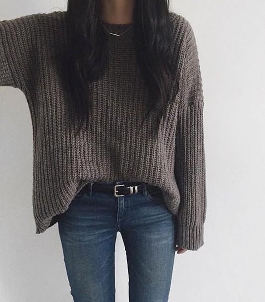 sweater grey pretty knitwear jeans blue grey sweater outfit knitwear knitted sweater knitted top blue jeans belt oversized sweater