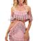 Cold shoulder tassel dress pink