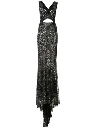 gown back embroidered women black silk dress