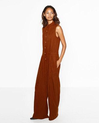 jumpsuit zara brown