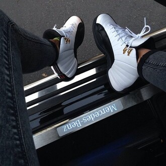 shoes taxi 12s jordans girls sneakers taxi jordans a little bit of black swag black nike air nike sneakers air jordan white gold style mercedes benz white sneakers black and white sporty