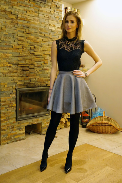blogger lace top grey skirt