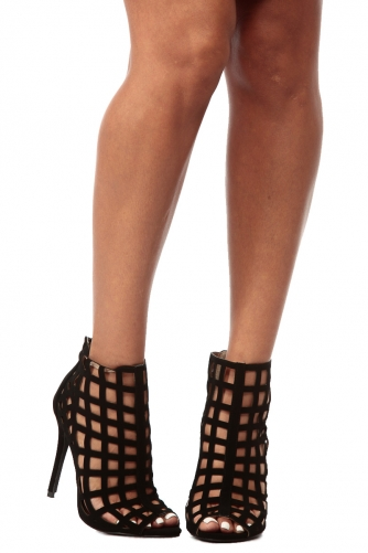 Black faux nubuck caged peep toe heels @ cicihot. booties spell style, so if you want to show what you're made of, pick up a pair. have fun experimenting with all we have to offer!