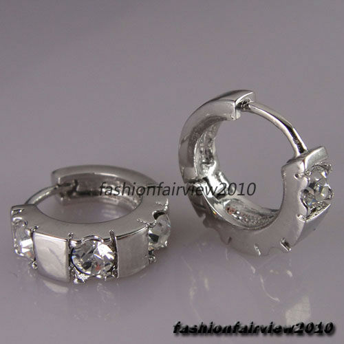New 18K White Gold GP Clear White Crystal Hoop Cuff Ear Studs Earrings IE006A | eBay