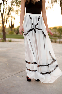 Bless'ed are the Meek Turn to Gold Maxi Skirt at Hint Boutique