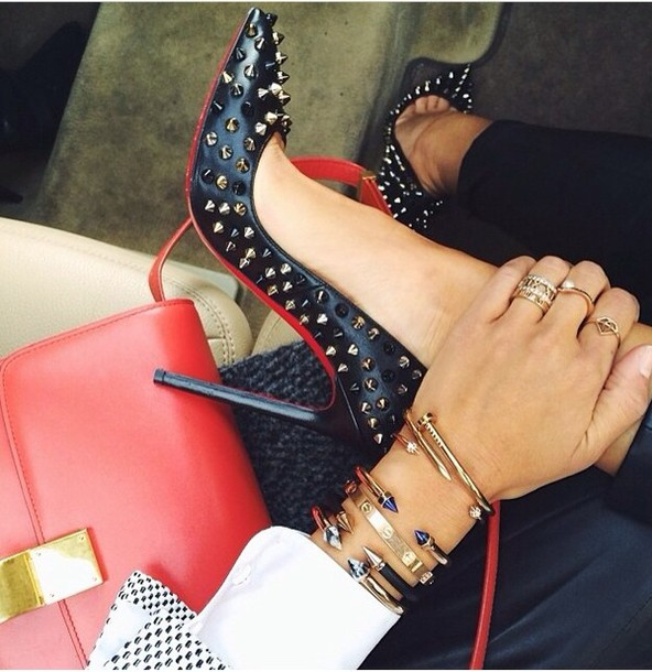 shoes black and red pumps