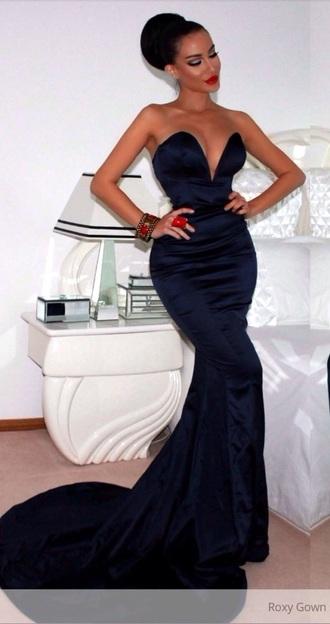 dress navy long gown long prom dress prom dress train mermaid formal sweetheart dresses mermaid prom dress silk dress style dark blue dress fashion