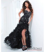 dress,black,high low,ruffle,prom,prom dress,black and silver