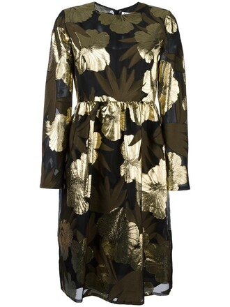 dress women floral black silk
