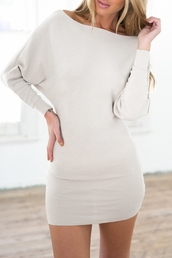 dress,zaful,long sleeve dress,white long sleeve dress,batwing,short dress,bodycon dress,batwing sleeve,white dress,sexy dress,women,cute dress,long sleeves