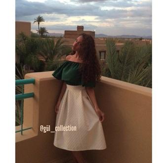 top green classy long skirt midi skirt open shoulders