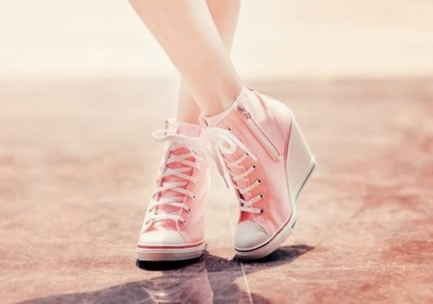 shoes zip pink pink shoes wedges wedge heel sneakers