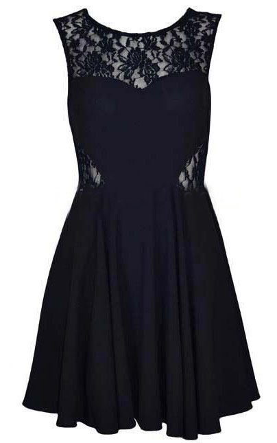 Black Round Neck Sleeveless Lace Chiffon Dress - Sheinside.com