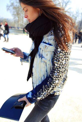 jacket denim jacket embellished denim embellished embellished jacket blue jacket jeans black jeans scarf black scarf