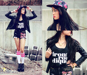shorts,streetstyle,shirt,hat,floral,snapback,flowered shorts,spikes,platform shoes,black,cut off shorts,t-shirt,shoes,clothes