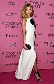 dress,karlie kloss,white dress,prom dress,victoria's secret,sandals,shoes,bag,clutch