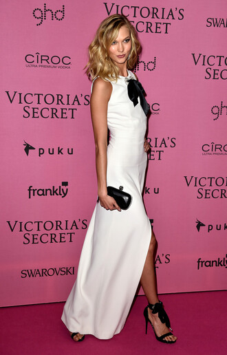 dress karlie kloss white dress prom dress victoria's secret sandals shoes bag clutch