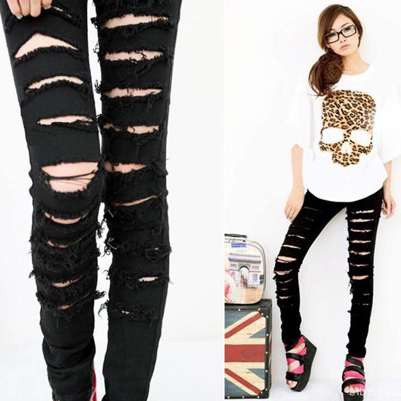Women Black Cotten Denim Punk Ripped Jeans Sexy Slim Cut off