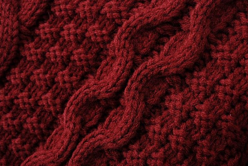 Jersey punto trenza suelto manga larga-Rojo vino