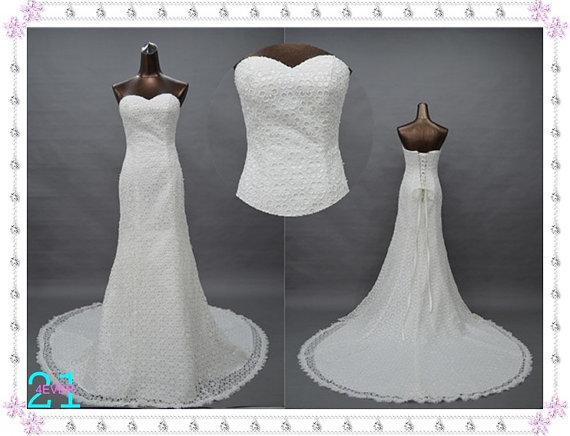 Lace wedding dresses mermaid sheath sweetheart princess by 214ever