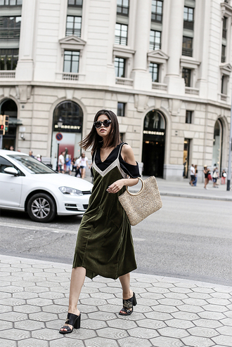 dress midi dress velvet dress green dress tumblr velvet slip dress sandals sandal heels high heel sandals bag basket bag top shoes