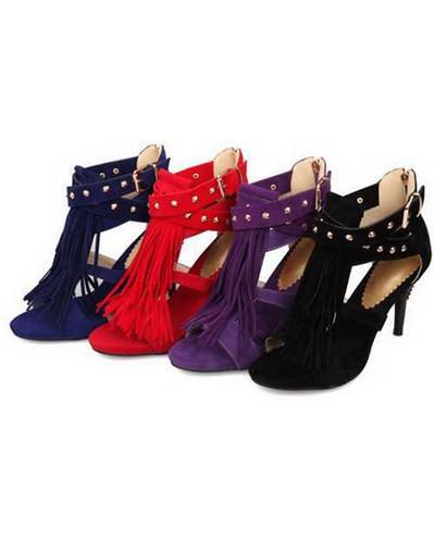 Tassel fringe sandals blue black purple gladiator straps rivet heels